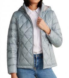 Light Blue Diamond Quilt Short Packable Jacket
