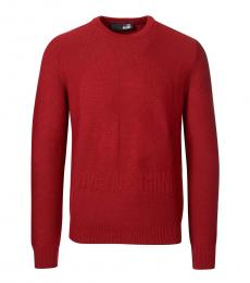 Love Moschino Red Peace Embossed Logo Sweater