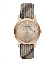 Burberry Beige-Rose Gold Classic Round Watch