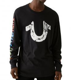 True Religion Black Long Sleeve Logo T-Shirt