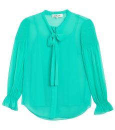Diane Von Furstenberg Crest Tie Neck Long Sleeve Tunic Blouse