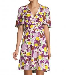Kate Spade Dark Cream Floral Plisse A-Line Swing Dress