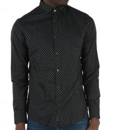 Armani Jeans Black Logo Custom Fit Shirt