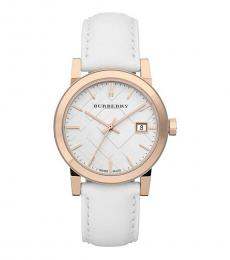 Burberry White-Rose Gold Logo Watch