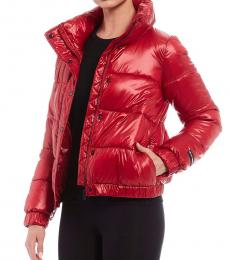 Metallic Murano Sport Funnel Neck Metallic Puffer Jacket