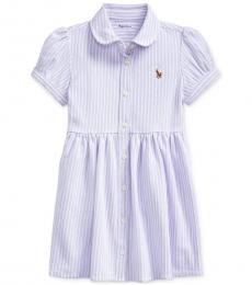 Ralph Lauren Baby Girls Purple White Striped Knit Dress