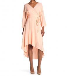 Diane Von Furstenberg Blush High/Low Hem Wrap Dress
