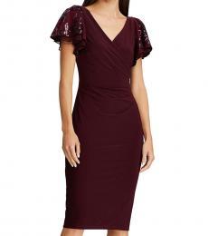 Ralph Lauren Red Faux Wrap Sequined Party Dress