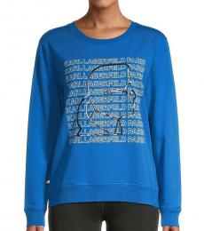Karl Lagerfeld Classic Blue Graphic Logo Sweatshirt