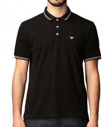 Emporio Armani Black Front Logo Polo