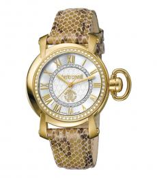 Gold Silver Dial Modish Watch
