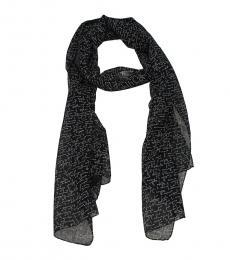 Saint Laurent Black Text Wool Scarf