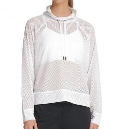 DKNY White Sport Mesh Funnel-Neck Top