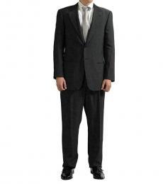 Armani Collezioni Grey Striped Pattern Wool Suit
