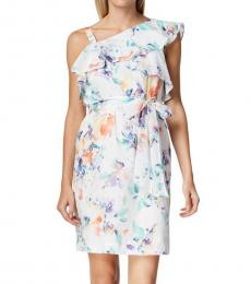 Calvin Klein White One Shoulder Flounce Dress