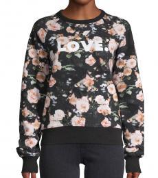 Rebecca Minkoff Black Multi Floral-Print Sweatshirt