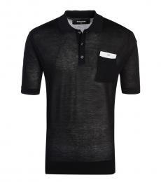 Black Solid Mesh Polo