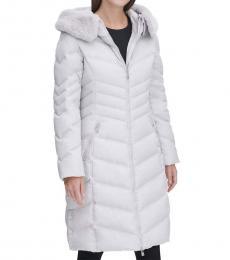 Karl Lagerfeld Silver Faux Fur Puffer Jacket