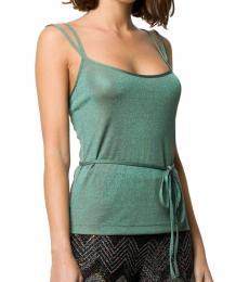 Green Two-Tone Lurex Vest Top