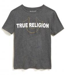 True Religion Boys Grey Foil Stencil Logo T-Shirt