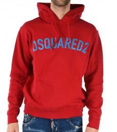 Dsquared2 Red Logo Hoodie Sweatshirt