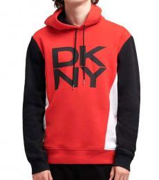 DKNY Red Color Block Logo Hoodie