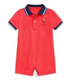 Baby Boys Evening Post Red Polo Shortall