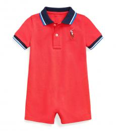Ralph Lauren Baby Boys Evening Post Red Polo Shortall