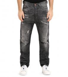 Grey Denim Slim-Fit Straight-Leg Jeans