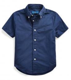Little Boys Navy Poplin Shirt