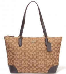 Coach Khaki/Brown Top Zip Large Tote