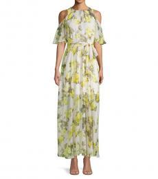 Yellow Cold-Shoulder Floral Chiffon Dress