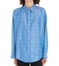 Balenciaga Blue Striped Logo Shirt