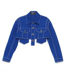 Balmain Blue Crop Denim Jacket