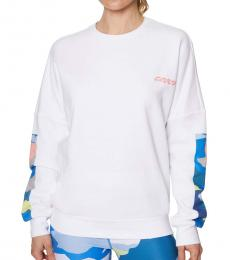 Betsey Johnson White Crewneck Fleece Sweatshirt