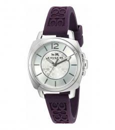Coach Purple Logo-Embossed Watch