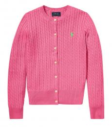 Girls Baja Pink Cable-Knit Cardigan