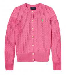 Ralph Lauren Girls Baja Pink Cable-Knit Cardigan