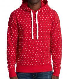 Red Monogram Pullover Hoodie