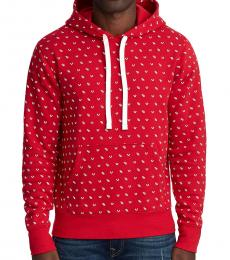 True Religion Red Monogram Pullover Hoodie