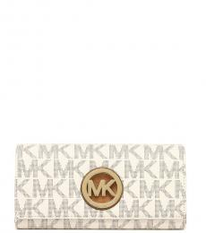 Michael Kors Vanilla/Acorn Fulton Flap Wallet