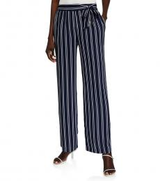 Michael Kors Blue Pattern Stripe Wide Leg Belted Pants
