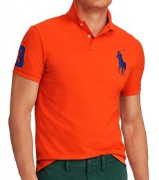 Ralph Lauren Orange Navy Big Pony Custom Fit Polo