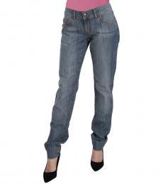 Just Cavalli Blue Washed  Low Waist Slim Fit Denim Jeans