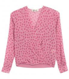 Diane Von Furstenberg Pink Floral Surplice Blouse
