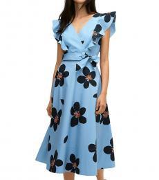 Kate Spade Blue Heron Grand Floral Midi Wrap Dress