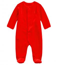 Ralph Lauren Baby Boys Red Cotton-Blend Velour Coverall