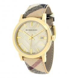 Burberry Beige-Gold Check Watch