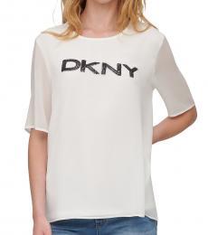 Ivory Mixed Media Sequin Logo Short Sleeve Top