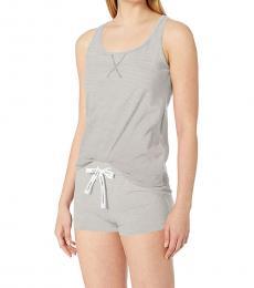 Calvin Klein Feeder Stripe Soot Racerback Tank Shorts Pajama Set